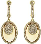 8.27ct Diamond And Aaa Citrine 14kt Yellow Gold 3d Cluster Oval Hanging Earrings