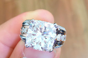 5.62ct Cushion Cut Moissanite Wedding Best Engagement Ring 14k White Gold Plated