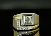 Vintage 14k Two Toned Manand039s Diamond Ring