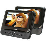 Dual Screen Portable Dvd Player For Car Widescreen Color Lcd 7 Inches Black