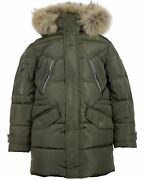 Lisa-rella Boysand039 Goose Down Parka Coat With Real Fur Trim Sizes 7-16