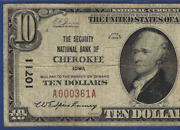 Ia 1929 10 ♚♚cherokeeiowa♚♚ The Security Nb Pmg Ch Fine 15 Only 6 Known