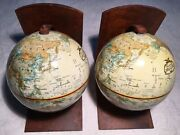 Vintage Old World Map Globe Bookends Table Top Spinning Globes Metal Base