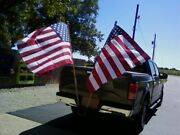 2 Hitch Mount - Dual Heavy Duty Flag Pole Holder - - Made In The Usa