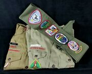Lot Of 3 1990s Shortsleeve Collarless Boy Scout Shirts And Badge Banner Mt Doro Fl
