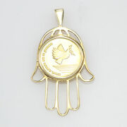 Go In Peace Return In Peace Medal Coin Hamsa Hand Of God Gold Necklace Pendant