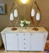 Mid Century Modern Danish Modern Pearsall Attributed Table Lamps