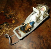 Antique Lot Santa With Sledge And /cotton Angel Ornament - Tinsel -germany