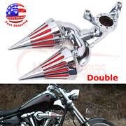 Two Spike Air Cleaner Intake Filter For Harley Touring Dyna Softail Cv Sportster