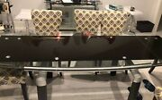 Dining Table Chocolate Glass And Clear Glass Top With 8 Tanner Parsons Chairs
