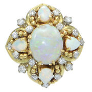 Large Oval Pear Shape Fire Opal Diamond Cocktail Ring 18k Yellow Gold 1.00ctw