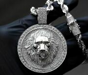 Solid Large Round Shape Men's King Of The Jungle Lion Face Pendant In 925 Ss