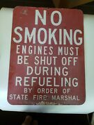 No Smoking Stop Your Engine Vintage Porcelain Sign Heavy Gas Station Industrial
