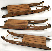 Antique 1890and039s Rare Clipper Oak Painted Childand039s Clipper Sled Original Awesome
