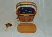 2001 Longaberger Inaugural Basket With Lid Fabric And Plastic Liner W/ Booklet