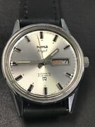 Vintage Hmt Rajat Watch Automatic W/ Day And Date In Cream Dial