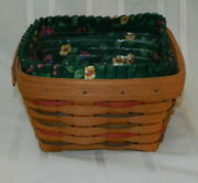 1996 Longaberger Large Berry Basket Plastic And Fabric Liner