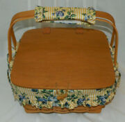 1998 Longaberger Cake Basket With Riser Plastic And Fabric Liners