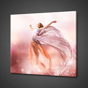 Beautiful Fantasy Flying Girl Fairy Pink Canvas Print Wall Art Picture Photo