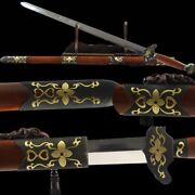 Handmade Lily Sword Pattern Steel Blade Sharp Copper Fittings And Gold-plate 011