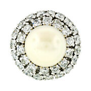 Vintage 18k White Gold Large Golden Pearl 2.10ct Tiered Double Diamond Halo Ring