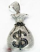 Men's Hip Hop Style Money Pouch Solid Pendants With Clear White Cz And 925 Silver
