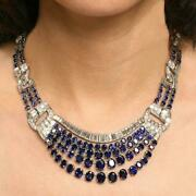 French Mid-20th Century Oval-cut 25.ct Sapphires And 15.ct Clear Cz Fine Necklace