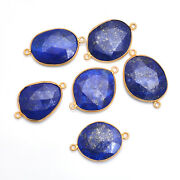 Gold Plated Silver Bazel Lapis Lazuli Connector Faceted Suppliers Finding
