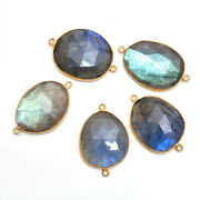 Gold Plated Silver Bazel Labradorite Connector Faceted Suppliers Finding