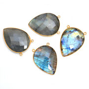 Gold Plated Silver Bazel Labradorite Connector Pear Faceted Suppliers Finding