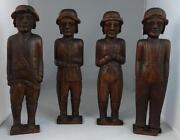 Antique Set Of 4 Wooden Carved Men Rifle Flute Various Dress Mahogany Nice