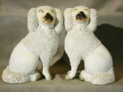 Pair Early Victorian Staffordshire Spaniel Dog Figurines W/ Sand 7h C1840-1870
