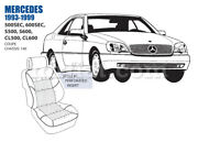 Mercedes S500 S600 Sec Cl Front Leather Seat Cover Set 1993-99 Oem New