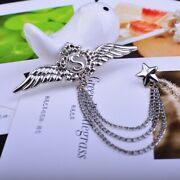 Fashion Accessories Wing And Star 925 Silver Chain Brooches Men Suit Lapel Pin