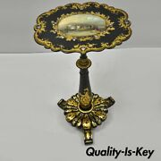 Antique 19th C. Victorian Papier Mache Mother Of Pearl Inlay Pedestal Side Table
