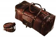 30 Men Brown Waxed Leather Vintage Genuine Travel Luggage Duffle Gym Bags Tote
