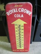 Vintage 1950and039s Drink Royal Crown Cola Thermometer /metal Sign 26