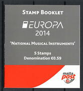 Malta 2014 Musical Instruments Stamp Booklet - Europa 5x €0.59 Unmounted Mint