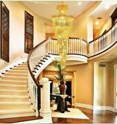 European Style K9 Clear Crystal Chandelier Villa Stairs Lighting Hotel Project