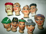 Lot Antique Composition Doll Heads -funny Heads -kaperle Theatre -germany