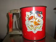 Vintage Colorful 1940's Androck Hand-i-sift Flour 3 Screen Sifter, Red Handle