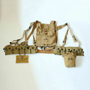 Military Wwii Ww2 Us 1928 Haversack Canteen First Aid Pouch Ammo Belt Full Set