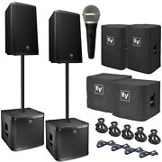 Electro-voice Dual Zlx-15p 15 Powered Pa Speaker With Dual Zxa1 Sub And Pga