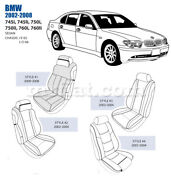 Bmw 745 750 760 Front Leather Seat Cover Set 2002-08 Oem New