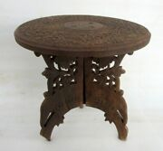 Antique Old Wooden Hand Carving Brass Work Center Side Folding Decorative Table