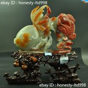 Fine Chinese 100natural Xiu Jade Carved Lucky Wealth Toad Peach Bergamot Statue