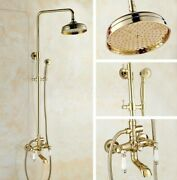 Gold Brass Rain Shower Head System Set With Handshower Tub Spout Faucet Zgf361