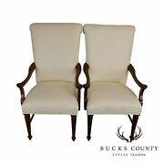 Lexington Country French White Upholstered Pair Host Armchairs