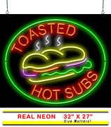 Toasted Hot Subs Neon Sign | Jantec | 32 X 27 | Deli Cafe Diner Pizza Wings