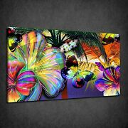 Stunning Colourful Butterflies Tropical Palms Box Canvas Print Wall Art Picture